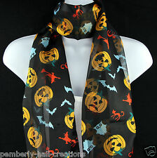 Scary Halloween Womens Scarf Pumpkin Bat Witch Cat Gift Scarfs Black Scarves New