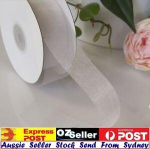 50 mm width X 100 Yards Organza Cut Edge Ribbon  White