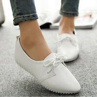 Women Ladies Leather Oxfords Pointy Toe Casual Flats Preppy Moccasin Shoes