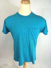 Vintage 80s Paper Thin Teal Surf Beach Work Plain Blank Pocket T Shirt Xl/L Usa