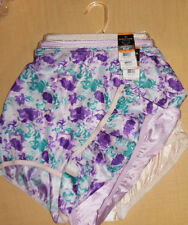 3 Vanity Fair Brief Panty Tailored Ravissant 15712 Ivory Purple Blue Flower 7 L