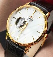 Orient Automatic Watch Men's Mechanical Skin Case Steel Gold Plated 18kt