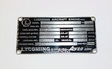 Original New Old Stock Lycoming Data Plate, From El Reno Supply. Style #1