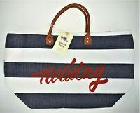 Holiday Woven Shoulder Tote Beach Bag Resort Carry Navy Blue White Striped