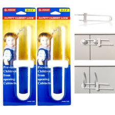 2 Pack Baby U Shape Safety Cabinet Locks Door Fridge Child White Drawer Plastic