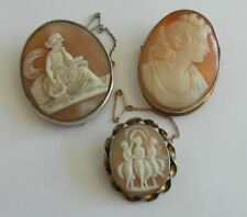THREE Super Victorian Antique Cameo Portrait Brooch Pin - Musician Three Graces