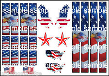 1:64 SCALE HOT WHEELS RACING STRIPES USA PATRIOTIC FLAGS EAGLE WATERSLIDE DECALS