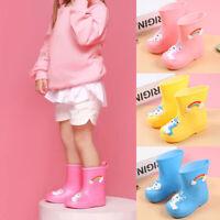 Kids Girl Cartoon Unicorn Pattern Mid-calf Rain Boots Waterproof Children Shoes