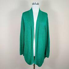 Talbots 2X Woman Open Front Linen Cardigan Long Sleeve Green