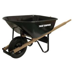 """True Temper Ames J6 Steel Wheelbarrow 6 cubic feet stainless steel 16"""" tire"""