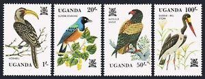 Uganda 346-350,MNH.Michel 333-336,Bl.35. 1982.Hornbill,Starling,Eagle,Stork,Dove