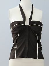 New BEBE Size L Black White Tube with Piping and Bow Halter Blouse