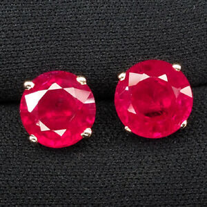 RUBY BLOOD RED ROUND 9.20 CT. 925 STERLING SILVER ROSE GOLD EARRINGS JEWELRY