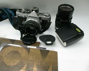 Olympus OM-2 OM-2n Bundle 35mm Camera, 50mm & 135mm Lenses Strap Manuals Flash