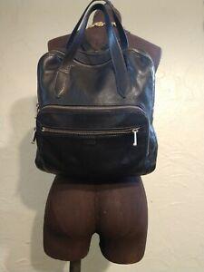 Fossil 100% Genuine Leather Black Backpack Purse Adjustable Straps