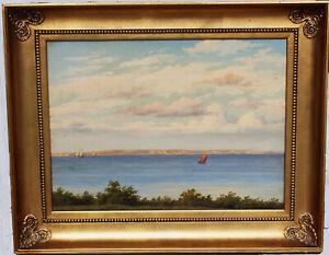 F C Kiaerskou. Coastal view toward Island of Hven, the Danish Sound 1870s