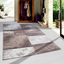 Moderner Design Konturschnitt Kurzflor Teppich Patchwork Wohnzim. Beige Meliert