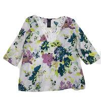 Premise NWT Linen Blend V Neck Tunic Sz M Medium White Floral Lace Trim 3/4 Sl
