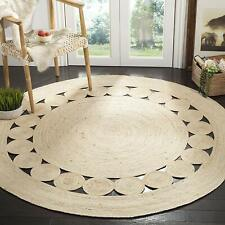 Natural Braided Rugs Round Reversible Various Size Jute Strip Area Rug Floor Mat