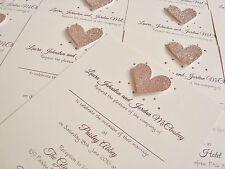 Set of 50 Personalised Handmade Glitter Heart Bling Wedding Invitations