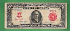 1937 PHILIPPINES NATIONAL BANK CONGRESSMAN JONES TWENTY PESO E40240E P-59