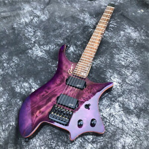 Grote Purple Burst Top Solid Wood Headless Electric Guitar with Black Hardwares