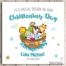 Personalised Christening Card Noahs Arc Godson Son Grandson Brother Nephew Boys