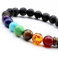 7 Crystal Bead Natural Lava Chakra Bracelet Reiki Gemstone Jewellery & Gift Bag