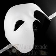 Mens Half Phantom of the Opera Venetian Costume Masquerade Ball Mask [White]