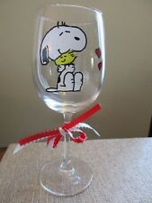 Hand Painted Wine Glass Snoopy and Woodstock 12 oz