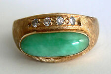 Beautiful Vintage14K Yellow Gold Jadeite Jade Diamond Ring A Grade AntiqueEstate
