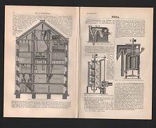 Lithografie 1896: Mühlen. Aspirator Tarar Walzenstuhl Schäl-Maschine Mühle Stein