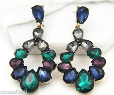 1 Pair Elegant Multi Crystal Rhinestone  Ear Drop Dangle Stud long Earrings 257