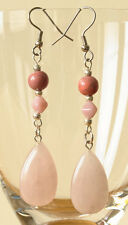Exclusive handmade silver-plated earrings with pink quartz drops & crackle beads