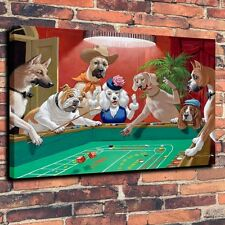 Art Quality Canvas Print, Oil Painting Fun Night Dice Dogs Home Decor 18x24