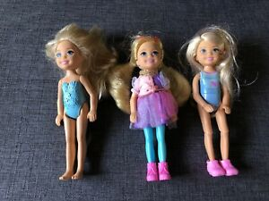 Lot of 3 Mattel Barbie Chelsea Dolls Dressed With Shoes