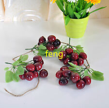 2 string artificial cherry faux fruit fake food house party kitchen decor 65cm