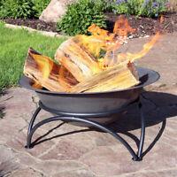 "Sunnydaze 24"" Fire Pit Bowl Cast Iron with Gray Finish Wood-Burning Firebowl"