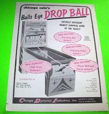 Chicago Coin 1959 BULLS EYE DROP BALL Original NOS Arcade Shuffle Alley Flyer