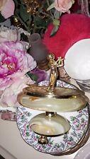 Vintage Antique Cherub Onyx Gold Figure