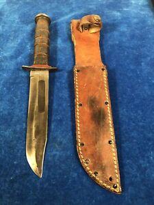Very rare WWII USMC KA-BAR Redspacer fighting knife w sheath #968