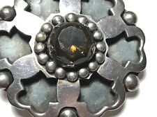 Ornate Huge Sterling Silver & Smokey Quartz TAXCO Mexico Pendant Brooch TP-84 60