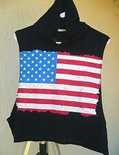 Vtg Usa Flag Hoodie Sz L M S Thin Sleeveless Deep Armhole Crop Top Faded T Shirt