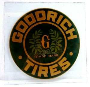 Rare Original Antique GOODRICH TIRES Advertising Sign on Glass from Dealership