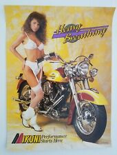 Vintage Original Poster Harley Davidson Mikuni Carbs Heavy Breathing Girl 1990's
