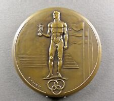 """French, Large Medal. """"Victory"""" Nude Man, Sport, Olympic Games. Art Deco. Corbin."""