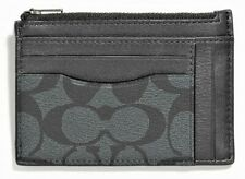 COACH 'Sig CC' Men's Coated Canvas Multiway Zip Card / ID Case Charcoal/Blk NWT!