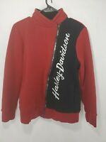 Women's HARLEY DAVIDSON Zip Up Sweatshirt Size Medium Black Red