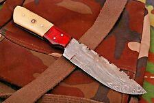 8INCH NEW RM CUSTOM DAMASCUS STEEL FULL TANG HUNTER SKINNER KNIFE CAMEL BONE 46