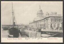 Postcard Dublin Ireland steam ship by the Custom House 1903 barrels on quay side